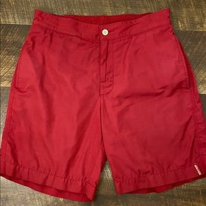 Tommy Bahama Relax men's red swim trunks.